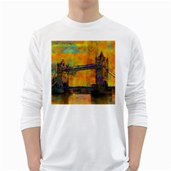 London Tower Abstract Bridge White Long Sleeve T Shirts