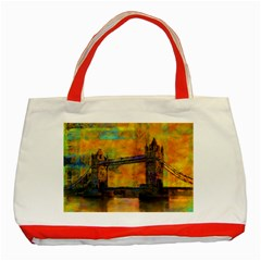 London Tower Abstract Bridge Classic Tote Bag (red)