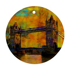 London Tower Abstract Bridge Round Ornament (two Sides)