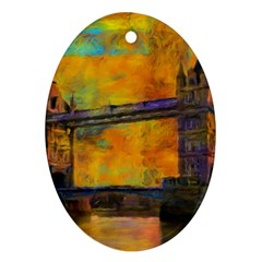 London Tower Abstract Bridge Oval Ornament (Two Sides)