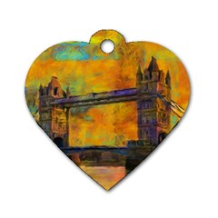 London Tower Abstract Bridge Dog Tag Heart (two Sides)
