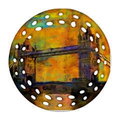 London Tower Abstract Bridge Round Filigree Ornament (2side)