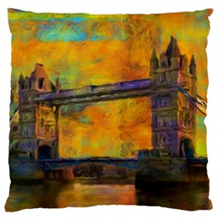 London Tower Abstract Bridge Large Cushion Case (two Sides)