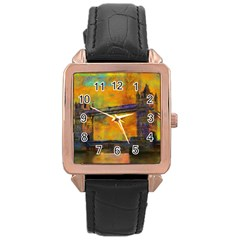 London Tower Abstract Bridge Rose Gold Leather Watch