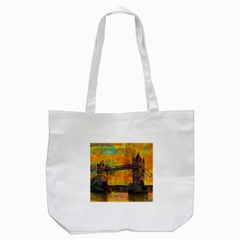 London Tower Abstract Bridge Tote Bag (white)