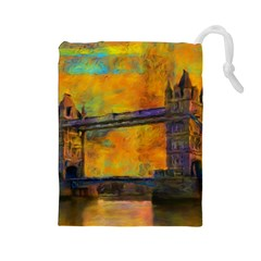 London Tower Abstract Bridge Drawstring Pouches (large)