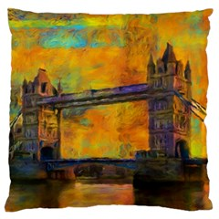London Tower Abstract Bridge Standard Flano Cushion Case (one Side)