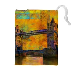 London Tower Abstract Bridge Drawstring Pouches (extra Large)