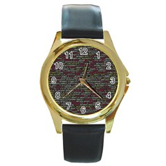 Full Frame Shot Of Abstract Pattern Round Gold Metal Watch