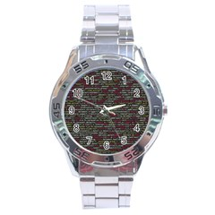 Full Frame Shot Of Abstract Pattern Stainless Steel Analogue Watch