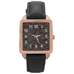 Full Frame Shot Of Abstract Pattern Rose Gold Leather Watch