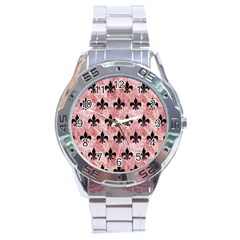 Royal1 Black Marble & Red & White Marble Stainless Steel Analogue Watch