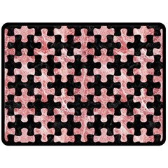 Puzzle1 Black Marble & Red & White Marble Fleece Blanket (large)