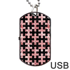 Puzzle1 Black Marble & Red & White Marble Dog Tag Usb Flash (one Side)
