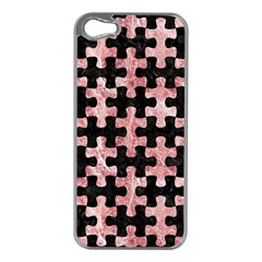 Puzzle1 Black Marble & Red & White Marble Apple Iphone 5 Case (silver)