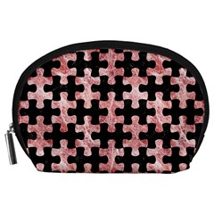 Puzzle1 Black Marble & Red & White Marble Accessory Pouch (large)
