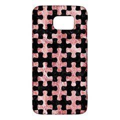 Puzzle1 Black Marble & Red & White Marble Samsung Galaxy S6 Hardshell Case