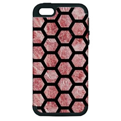 Hexagon2 Black Marble & Red & White Marble (r) Apple Iphone 5 Hardshell Case (pc+silicone)