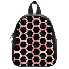 Hexagon2 Black Marble & Red & White Marble School Bag (small)