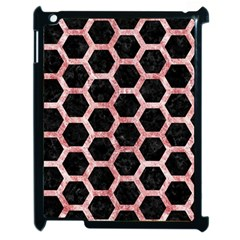 Hexagon2 Black Marble & Red & White Marble Apple Ipad 2 Case (black)