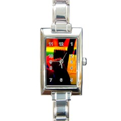 Plastic Brush Color Yellow Red Rectangle Italian Charm Watch