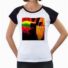 Plastic Brush Color Yellow Red Women s Cap Sleeve T