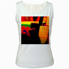 Plastic Brush Color Yellow Red Women s White Tank Top