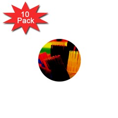 Plastic Brush Color Yellow Red 1  Mini Buttons (10 pack)