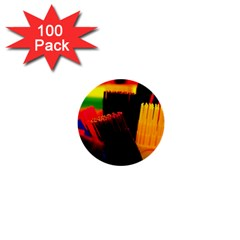 Plastic Brush Color Yellow Red 1  Mini Buttons (100 pack)