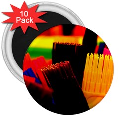 Plastic Brush Color Yellow Red 3  Magnets (10 Pack)