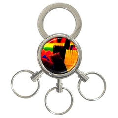 Plastic Brush Color Yellow Red 3 Ring Key Chains