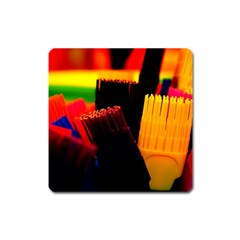 Plastic Brush Color Yellow Red Square Magnet