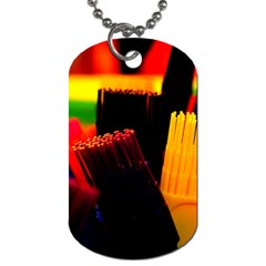 Plastic Brush Color Yellow Red Dog Tag (one Side)