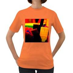 Plastic Brush Color Yellow Red Women s Dark T Shirt