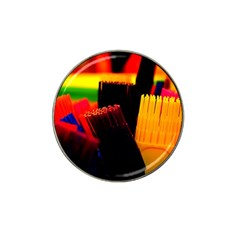 Plastic Brush Color Yellow Red Hat Clip Ball Marker (10 Pack)