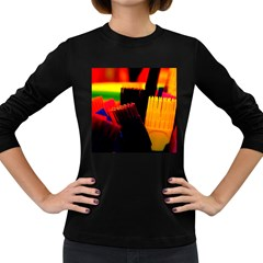 Plastic Brush Color Yellow Red Women s Long Sleeve Dark T Shirts