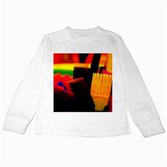 Plastic Brush Color Yellow Red Kids Long Sleeve T Shirts