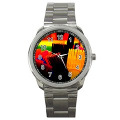 Plastic Brush Color Yellow Red Sport Metal Watch