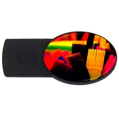 Plastic Brush Color Yellow Red Usb Flash Drive Oval (4 Gb)