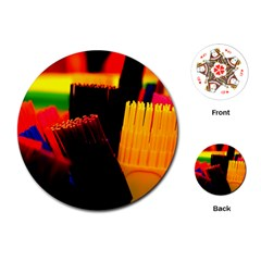 Plastic Brush Color Yellow Red Playing Cards (round)