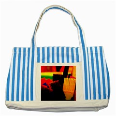 Plastic Brush Color Yellow Red Striped Blue Tote Bag