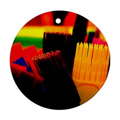 Plastic Brush Color Yellow Red Round Ornament (two Sides)