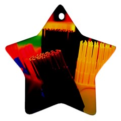 Plastic Brush Color Yellow Red Star Ornament (Two Sides)