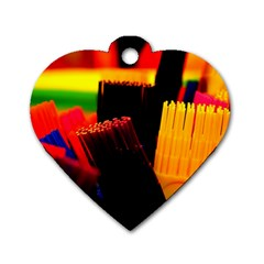 Plastic Brush Color Yellow Red Dog Tag Heart (One Side)