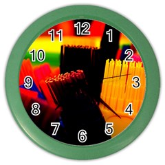 Plastic Brush Color Yellow Red Color Wall Clocks