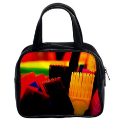 Plastic Brush Color Yellow Red Classic Handbags (2 Sides)