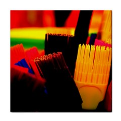 Plastic Brush Color Yellow Red Face Towel