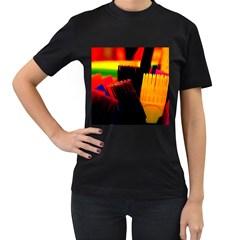 Plastic Brush Color Yellow Red Women s T Shirt (black)