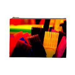 Plastic Brush Color Yellow Red Cosmetic Bag (large)