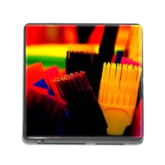 Plastic Brush Color Yellow Red Memory Card Reader (Square)